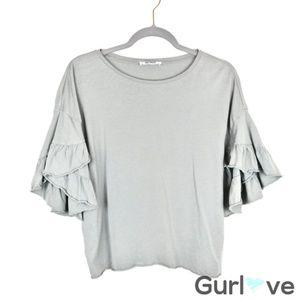 Zara Trafaluc Gray Ruffle Sleeve Blouse Size S